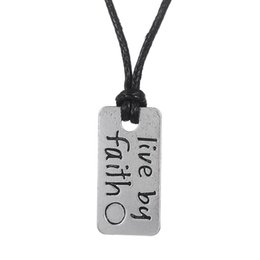 Designed Chain Silver Man UK - Lemegeton Drop Shipping Live By Faith Metal Engraved Chain Design Letters Pendant Necklace Wiccan Necklace For Men And Women