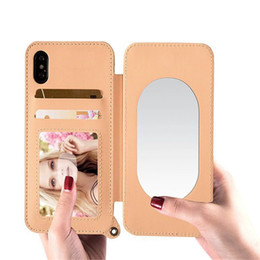 Iphone Money NZ - New iPhone case makeup mirror combo Lady Makeup Hybrid Hard Card Holder Cover with Money Pouch