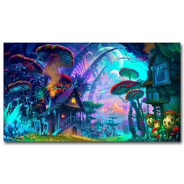 China NICOLESHENTING Mushrooms House -  Trippy Art Silk Fabric Poster Print Abstract Wall Home Decor supplier fabric spray paints suppliers