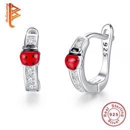 ladybird ladybug 2018 - BELAWANG Cute 925 Sterling Silver Animal Ladybug Earrings For Child Red Enamel Small Ladybird Stud Earrings Fashion Jewe