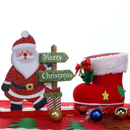 Gift Craft Christmas Ornament Australia - Elk Santa Snowman Living Room Table Desktop Ornament Wooden Craft Christmas Decoration for Home Christmas Gift Navidad Noel,T Y18102909