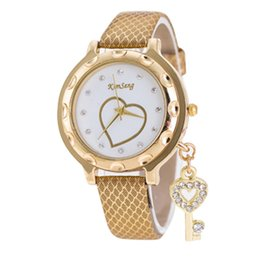 Peach glasses online shopping - Fashion Kimseng key pendant wrist watch Peach heart diamond leather watches women ladies luxury dress watch