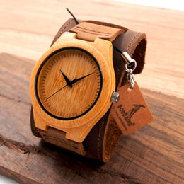 Watches Ceramic Wrist Bands NZ - watch tv windows mobile phone New Men Design Bamboo Wristwatches With Wider Genuine Cowhide Band for Men and Women Luxury Wood Wrist