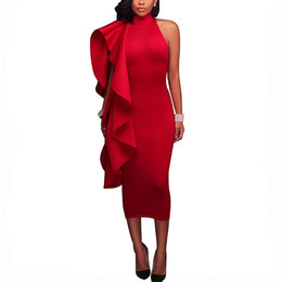 off shoulder frill dresses NZ - Ruffle Summer Dress One Side Exaggerated Frill Sexy Bodycon Dresses Women Elegant High Neck Zip Midi Dress Off Shoulder Party Dress