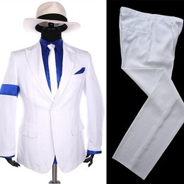 6d7bbad172fae MJ Michael Jackson Stripe Classic BAD Smooth Criminal 1990S White Blazer  Suit Shirt Tie Hat Halloween Costume Chistmas Gift