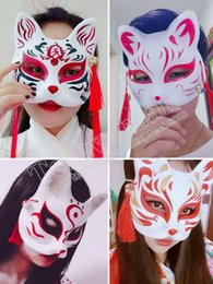 cat masks for adults UK - 10piece lot free shipping Halloween stage mask props Cat half face fox mask Performance prop