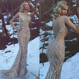 2018 Customized Luxury Evening Dresses High Quality V Neck Handmade Sequins Illusion Rhinestone Backless Mermaid Prom Dress from plus size mini business dresses manufacturers
