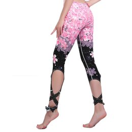dc11e640a3a85 Yoga Pants Tights Leggings Ballet Printed Bandage Cross-line Elastic Waist  Sportswear Fitness Dance Sports Trousers