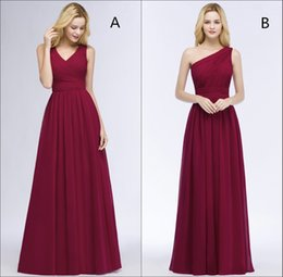 Order wedding dresses online shopping - 2018 Mix Order V Neck Burgundy Chiffon Long Bridesmaid Dresses Ruched Floor Length Formal Maid Of Honor Wedding Guest Dresses Cps878