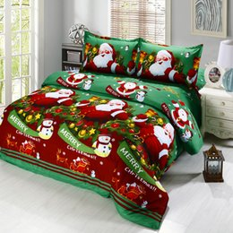 3d christmas bedding sets 2019 - 4pcs 3D Cartoon Bedding Sets Merry Christmas Gift Santa Claus Bedclothes Duvet Quilt Cover Bed Sheet Pillowcases New Yea