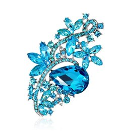 bohemian lights UK - 3 inch Long Flower Light Blue Crystal Rhinestone Brooches for Wedding Bouquet Women Corsage