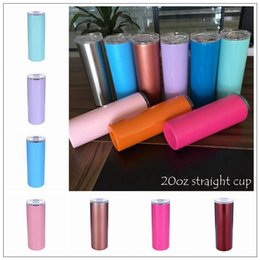 $enCountryForm.capitalKeyWord NZ - 13 Colors 20oz Straight Cup Stainless Steel Skinny Tumbler Vacuum Insulated Beer Coffee Mug Glasses with Lids and Straws CCA10386 12pcs