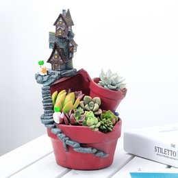 2017 Nuovo arrivo casa rurale vasi di fiori in resina vaso di fiori pianta grassa vasi fata giardino bonsai fioriera casa giardino decorazione