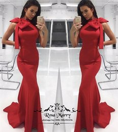 royal knots NZ - Sexy Red Mermaid Long 2K19 Prom Dresses 2020 Trumpet Black Girls Satin Knot Bow Cheap Satin African Formal Dresses Evening Party Gowns