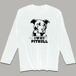 feee8e79d9 I Love My Pit Bull T Shirt Men's Long Sleeves Cotton T Shirt New American Pit  Bull Dog Men T-Shirt Funny Gift Tops Streetwear