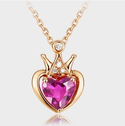 $enCountryForm.capitalKeyWord UK - Korean Gold Necklace Crown Red Tourmaline Clavicle Chain Heart Shape Fashion Lady Diamond Pendant Necklace