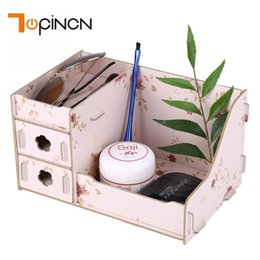 diy wood storage box UK - Wooden Storage Box Makeup Organizer Case Handmade Jewelry Container DIY Assembly Cosmetic Organizer Wood Box For Office