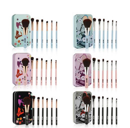 Discount nylon makeup box - 7pcs 1set Makeup Brushes Set Nylon Hair Wood Handle makeup Foundation Eyebrow Eyeliner Blush Cosmetic Brushes With Metal
