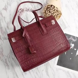 c52e522701 Women Leather totes 32cm Medium size Crocodile grain real cow leather with  zipper top Selected real leather High cost effective