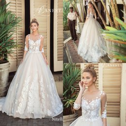 Discount half pearl bead buttons - Lanesta 2019 Wedding Dresses Lace Applique Pearls Half Sleeve Plus Size Bridal Gowns Sweep Train Ball Gown Robe De Marié
