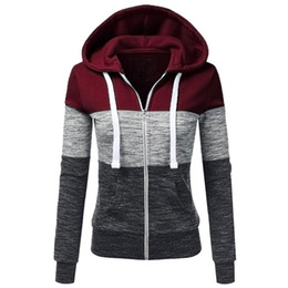 Chinese  2018 Spring Autumn Wholesale Women's Sweatshirts British Style Casual Zipper Temperament Hooded Jacket Contrast Color Outwear manufacturers