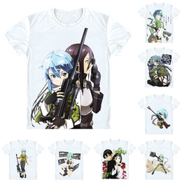 Discount sao cosplay - Sword Art Online Sodo Ato Onrain SAO T-Shirts Short Sleeve Shirts Anime Manga Asada Shino Sinon Hecate Yui Cosplay Shirt