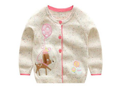 new cardigan design UK - INS styles new hot selling Girl kids spring autumn long sleeve Pure cotton Cardigan Deer Design knitted sweater for Girl