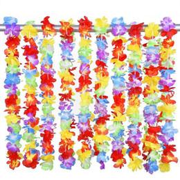 gay wedding wholesale 2019 - Hawaiian rainbow flower Leis artificial flower beach garland Necklace Luau Party gay pride 40 inches multi colour cheap