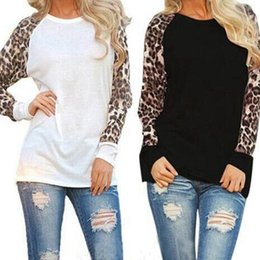 Leopard Tees Australia - Blusas 2017 Women Ladies Spring Autumn Long Sleeve Leopard Patchwork Loose Casual Tee Tops Casual T-shirt Plus Size