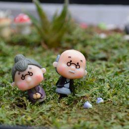 Discount new year desktop - crafts bonsai doll house miniatures DIY Old Granny fairy garden gnome animals moss terrarium home desktop decor