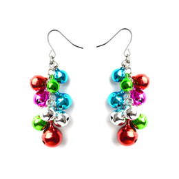 Bell support online shopping - Multi Colored Christmas Jingle Bells Drop Earrings Handmade Holiday Jingle Bell Earrings for Decoration Support FBA Drop Shipping H123R