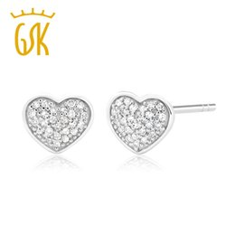 785d69c31 GemStoneKing Round Cut Natural White Diamond Heart Shape Stud Earrings For  Women 10K White Gold Wedding Jewelry S923
