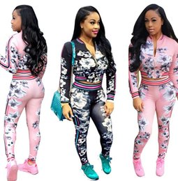 $enCountryForm.capitalKeyWord Canada - Women Floral Print Two-piece Set Long Sleeve Sweatsuit Autumn Hoodie Crop Jacket + Pants Trousers Tracksuit Fashion Coat Tights Outfit Suit