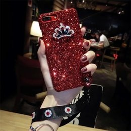 Hair cases online shopping - Diamon Bling Glitter Case With Wristband Hair Ball For Iphone X XR XS MAX Hard PC Back For Iphone Plus