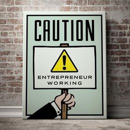 Pop Art Wall Canada - Alec Monopoly CAUTION Handpainted  HD Print Graffiti Pop Wall Art Oil Painting on Canvas office art culture Multi Sizes  Frame Options 220