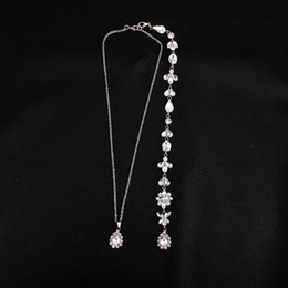 7b013d7378be Flor de cristal de lujo de plata larga cadena Backdrop collar Rhinestone  colgante nupcial collar Beach Summer Dress accesorios JCK003