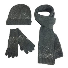 Chinese  Fashion Wool 3PC Women Hat Scarf Glove Sets Autumn Winter Lady Warm Wool Scarf Hat Glove Knitted Female Diamond Beanies Caps manufacturers