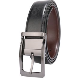 """Chinese  Belts for Men Genuine Leather Dress Belt Reversible 1.25"""" Wide with Rotated Buckle factory cinturon Black Brown Size 28-54 wholesale Belts manufacturers"""