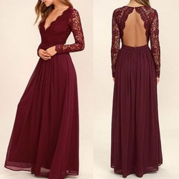 Chinese  2019 Lace Burgundy Bridesmaid Dresses Chiffon Skirt Illusion Bodice Long Sleeves A-Line Junior Counrtry Bridesmaids Dresses Cheap BA6895 manufacturers