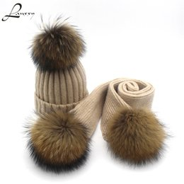 China Lanxxy Winter Scarves Wool Scarf Set for Women Girls Shawls Long Scarf for Kids Real Mink Fur Pompom Hat Scarf Boys Girls S18101904 cheap fashion mink fur shawl suppliers