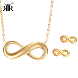 RIR Eternity Infinity Symbol Charm Necklace Stainless Steel Figure Eight 8 Jewelry Set Dainty Friendship Best Friend Gifts S008