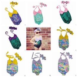 girls bathing suit kids swim 2019 - Mermaid Girl Swimsuit Kids Mermaid Tail Bikini Baby Fish Scale Swimwear Bow Headwear+Swimwear Headband Bathing Suits Kid