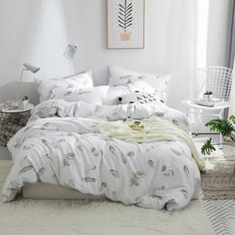 modern black beds 2019 - Papa&Mima Modern style bedding set feather print 100% Cotton Queen Twin size duvet cover flat sheet pillowcases discount
