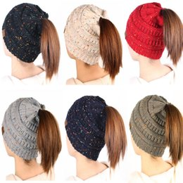 Winter Caps CC Ponytail Beanie Women Hat Skullies Beanies Female Knit Warm  Caps Stylish Hats For Ladies Fashion Girl Knitted Cap LE63 092473938f4b