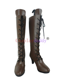 Venta al por mayor de Black Butler Ciel Phantomhive Brown Halloween Cosplay zapatos largos Botas H016