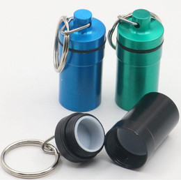 Discount aluminum pill keychain case - Aluminum Waterproof Pill Shaped Box Bottle Holder Container llaveros chaveiros Keychain Keyring Storage case stash 4 col