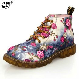 Soft Soled Shoes Australia - Fashion Women Boots Floral Printed Martin Boots Soft Sole Ankle Lace up Platform Shoes Woman 884