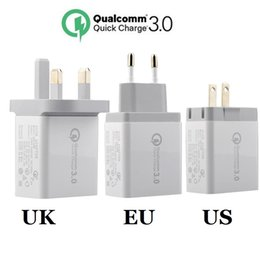 Discount home phone uk - wall charger 3 Usb ports Eu US UK Ac home travel wall charger fast adaptive qc 3.0 adapter for ipad iphone 7 8 x samsung