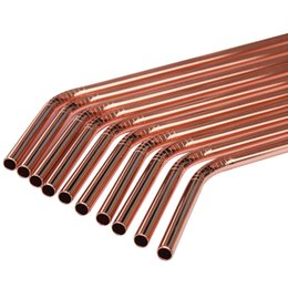 Wholesale 10pcs Shiny Rose Gold Color Stainless Steel Drinking Straws Rust Free Dia mm Bent With Gift Brushs mm