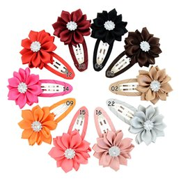 hair claws rhinestones Australia - 20pcs Boutique Rhinestone Flower With Whole Wrapped Safety Hair Clips BB Clips Kids Hairpins Hair Accessories Gifts HD810
